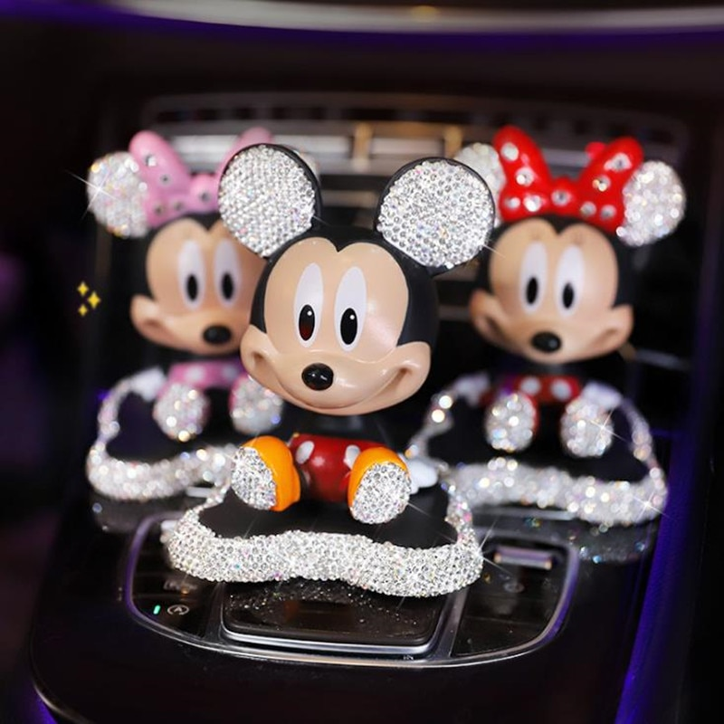 car ornaments nodding lovely resin shaking head interior decorations accessories for vehicle decorating cars Disney Mickey Minnie Shaking Head Figure Car Ornaments Auto Interior Decorations Big Hero Doll Toys Ornament Accessories