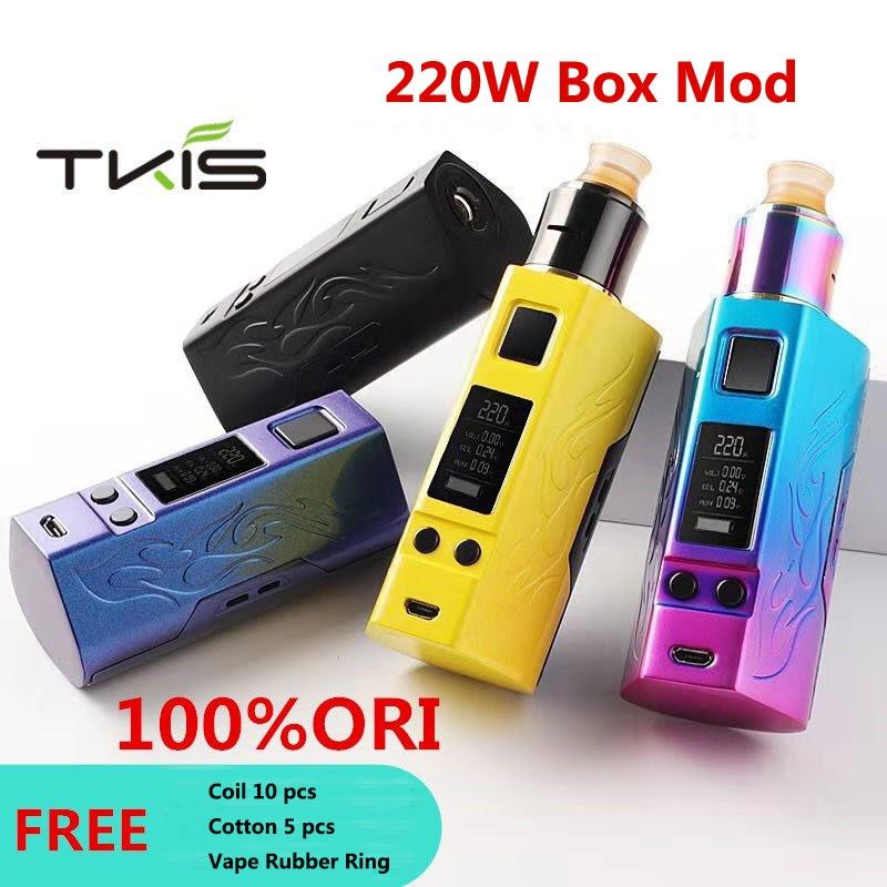 Original TKIS P-Cloud box mod 220w mod Kit with Drip rda atomizer fit double 18650 battery 4 work mo