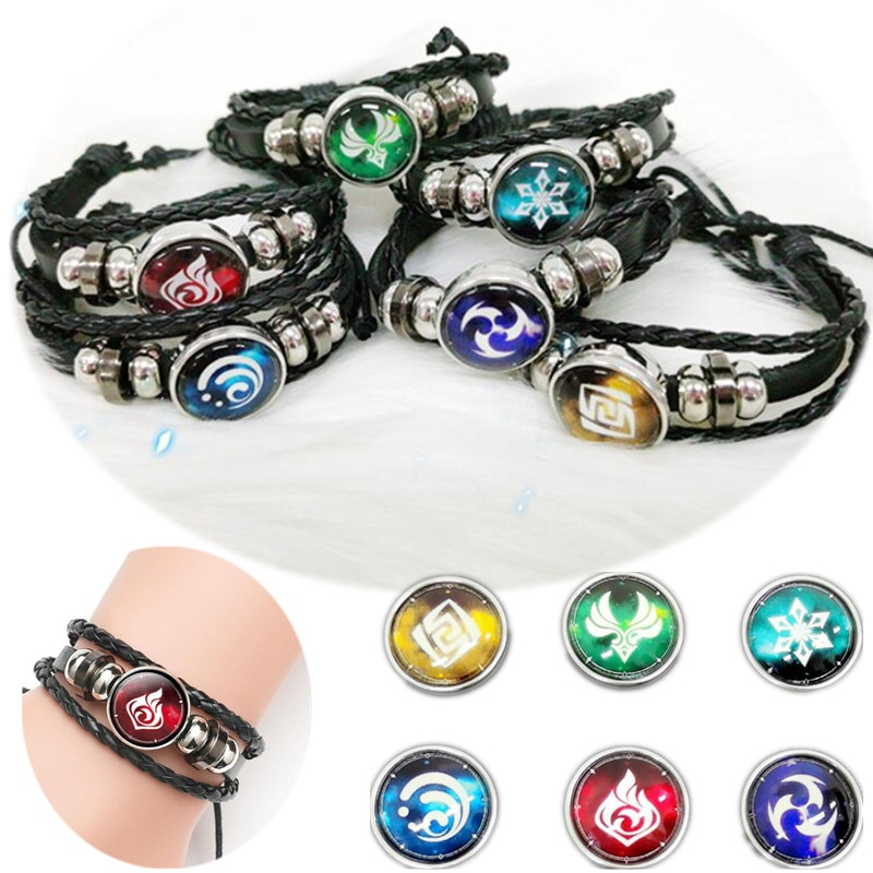 Genshin Impact Game Cosplay Prop Eye of God Water Wind Thunder Fire Rock Ice Element Bracelet Jewelry Accessories