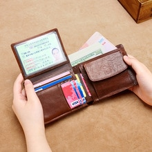 2021 Classic Men's Wallets Vintage Genuine Leather Wallet RFID Anti Theft Short Fold Business Card H