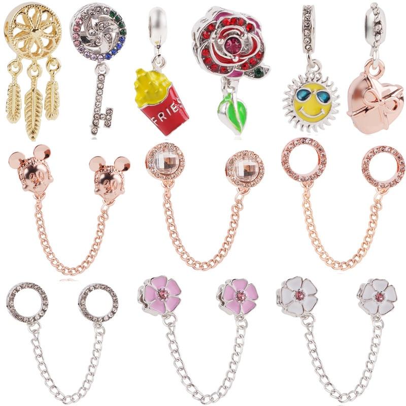 Couqcy Aun Rosa Dreamcatcher Mickey clave cuentas Fit Pandora Charms collar de la pulsera de la joyería de las mujeres haciendo accesorios de Damas