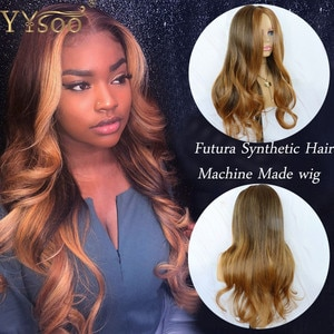 YYsoo #1BT#27 Long Futura Synthetic Hair No Lace Wigs For Women Natural Hairline Body Wave Ombre Full Machine Made Blonde Wig