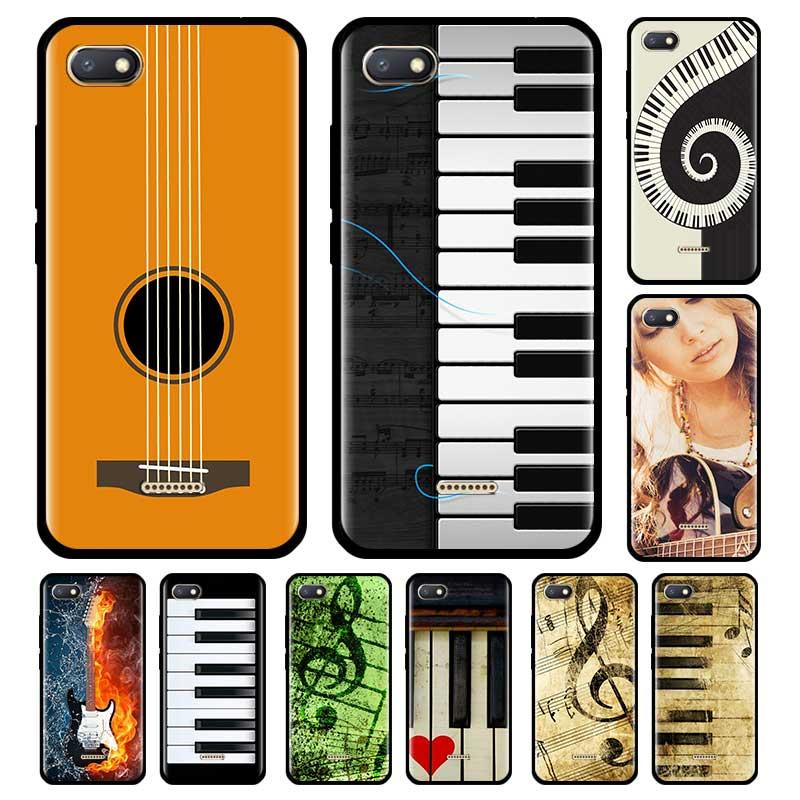 Piano guitarra música pintura capa para xiaomi redmi nota 8 8t 9s 9 7 8a 7a k30 pro zoom mi 9t note10 preto telefone coque escudo