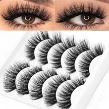 5 paires 5D Faux vison cheveux Faux cils naturel Long Volume complet Wispies moelleux cils Extension yeux maquillage outils à la main