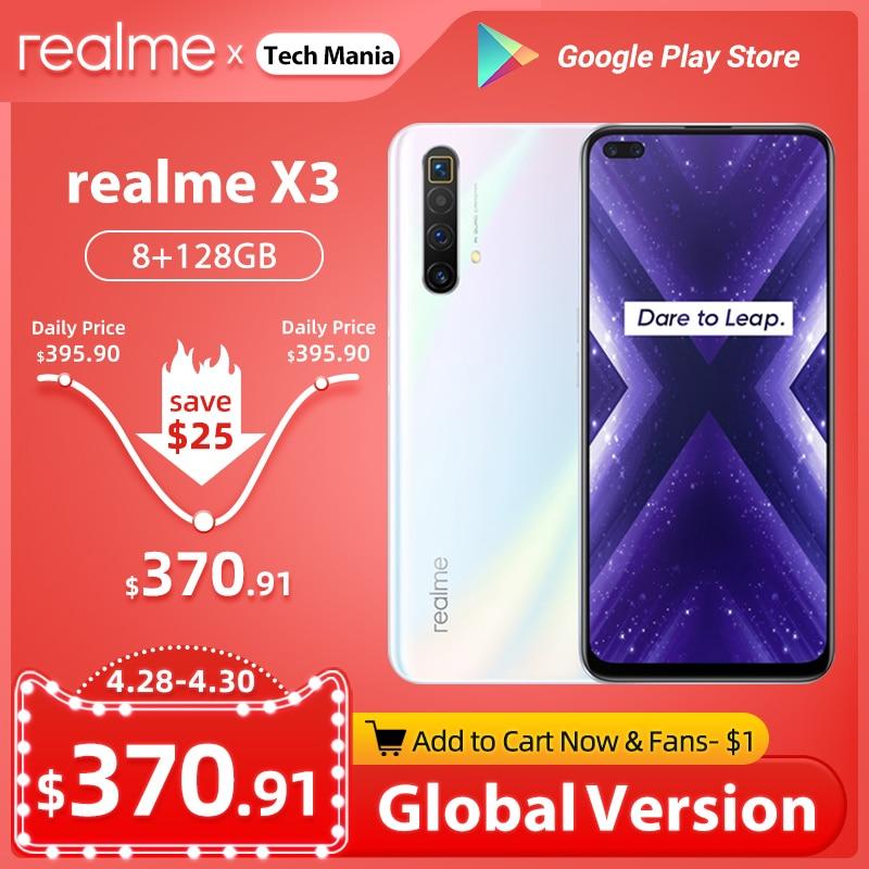 Realme X3 мобильный телефон Глобальная версия суперзум 8 ГБ 128 Snapdragon 855 + 120 Гц Дисплей 64-мегапиксельная четырехъядерная камера UFS 3,0 NFC 30 Вт Зарядно...