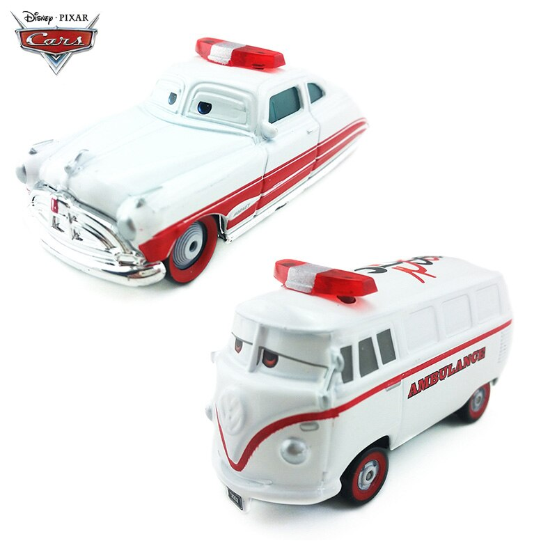 Disney Pixar Cars DocHudson Fillmore Ambulance Metal Diecast Vehicle Model Toy Lightning McQueen 1:55 Car Boy Kid Toys Gift