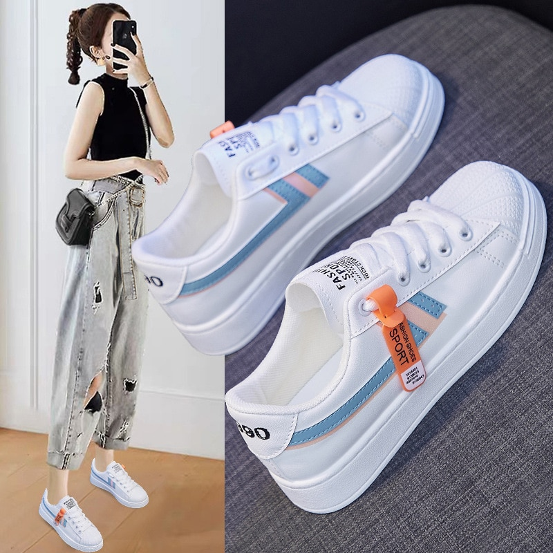 Ins Wild White Shoes Female 2021 Spring New Korean Student Running Board Shoes Female Breathable Casual Shoes little white shoes female spring 2020 new shoes students wild basic canvas shoes korean casual shoes daisy board shoes