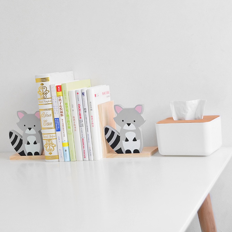 2 unids/lote creativo de Cactus conejo mapache en forma de luna soporte de libros de madera estante de almacenamiento de libros para estudiantes decoración del hogar
