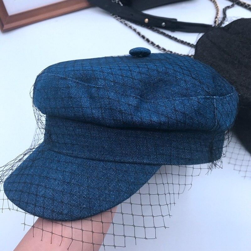 قبعة رعاة البقر النسائية من الشاش الحريري ، قبعة الدنيم بحار ، تشون شيا ، الرياح الأرستقراطية