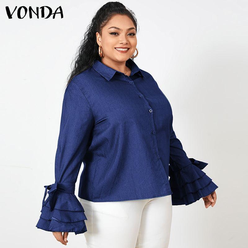 VONDA Plus Size Tops 2021 Autumn Casual Shirts Fashion Women Solid Lapel Buttons Work Blusas Femme Loose Elegant Office Blouses