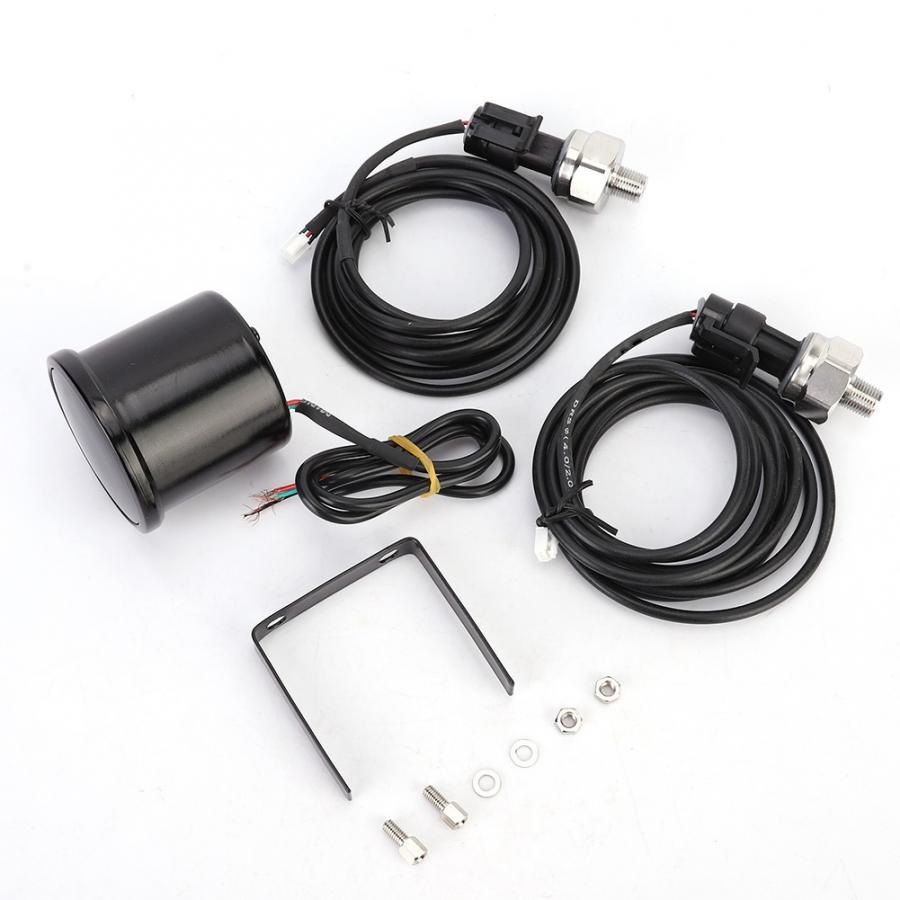 Manomètre de pression dair 2 en 52mm   Pour voiture, PSI, Kit de capteurs de jauge de conduite dair, double affichage numérique, en alliage daluminium, tout nouveau accessoires de voiture