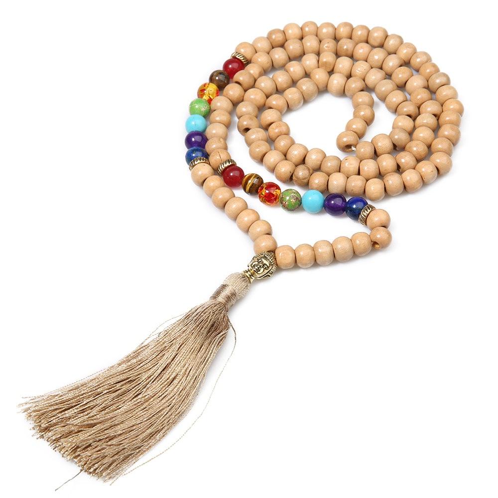 8 мм деревянные бусины 7 Чакр 108 Мала ожерелье медитация Йога джапамала ювелирные изделия Золотая голова Будды подвеска с кисточкой