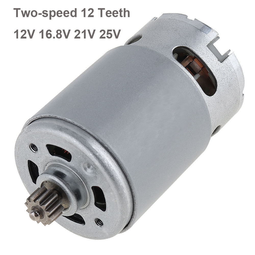 1pc RS550 12V 16.8V 21V 25V 19500 RPM DC Motor with Two-speed 12 Teeth and High Torque Gear Box for