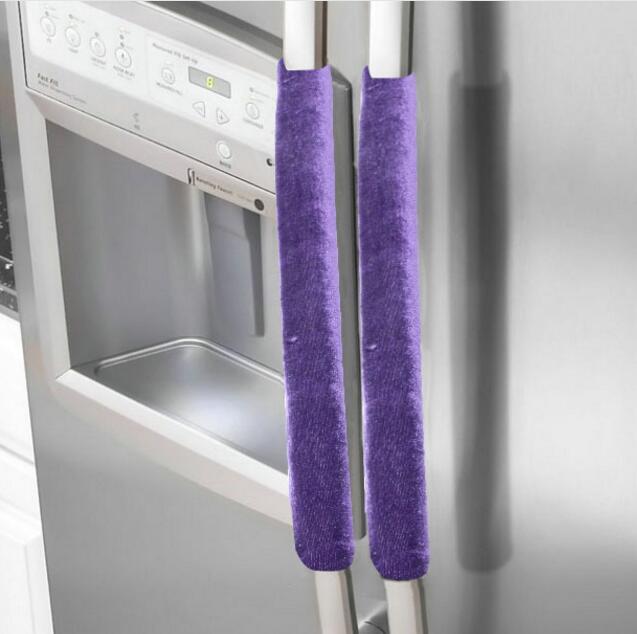 2 uds cubierta del mango del refrigerador cubierta de la manija antideslizante del refrigerador del horno Material Superior Pleuche 5 colores