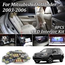 8 Uds Canbus blanco bombillas LED de coche Interior Kit de luces para Mitsubishi Outlander 2003, 2004, 2005, 2006 LED Interior