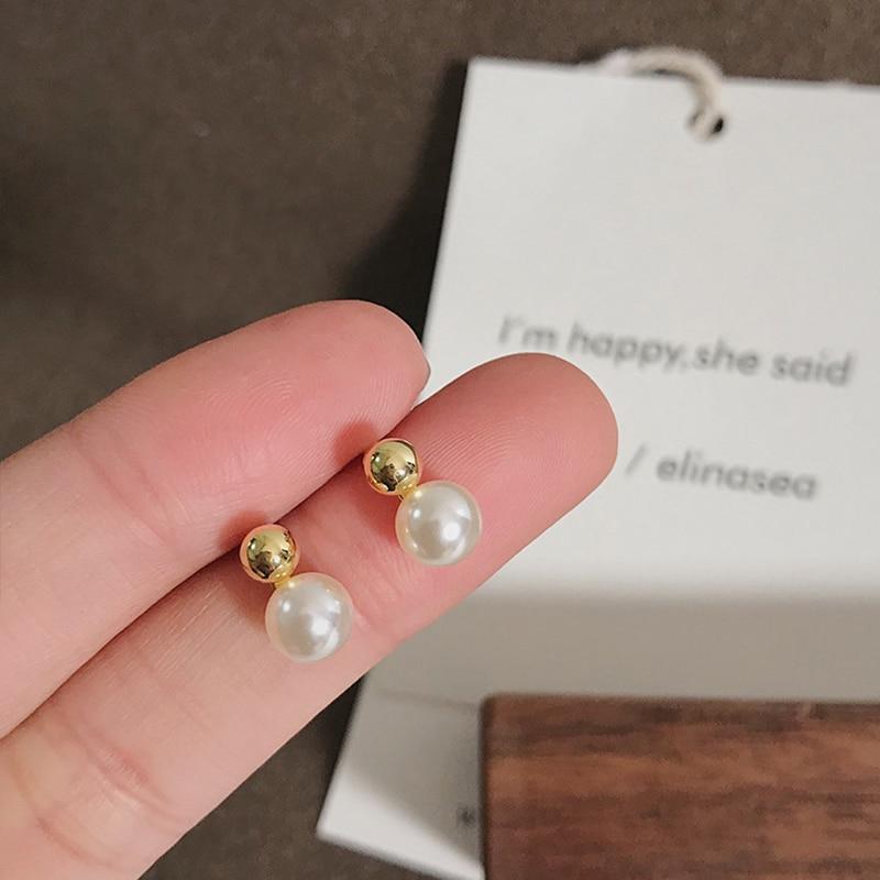 S925 pendientes pequeños de perlas de plata de moda para mujer pendiente bonito con pasador coreano Simple geométrico anudado de joyería y amuletos de regalo