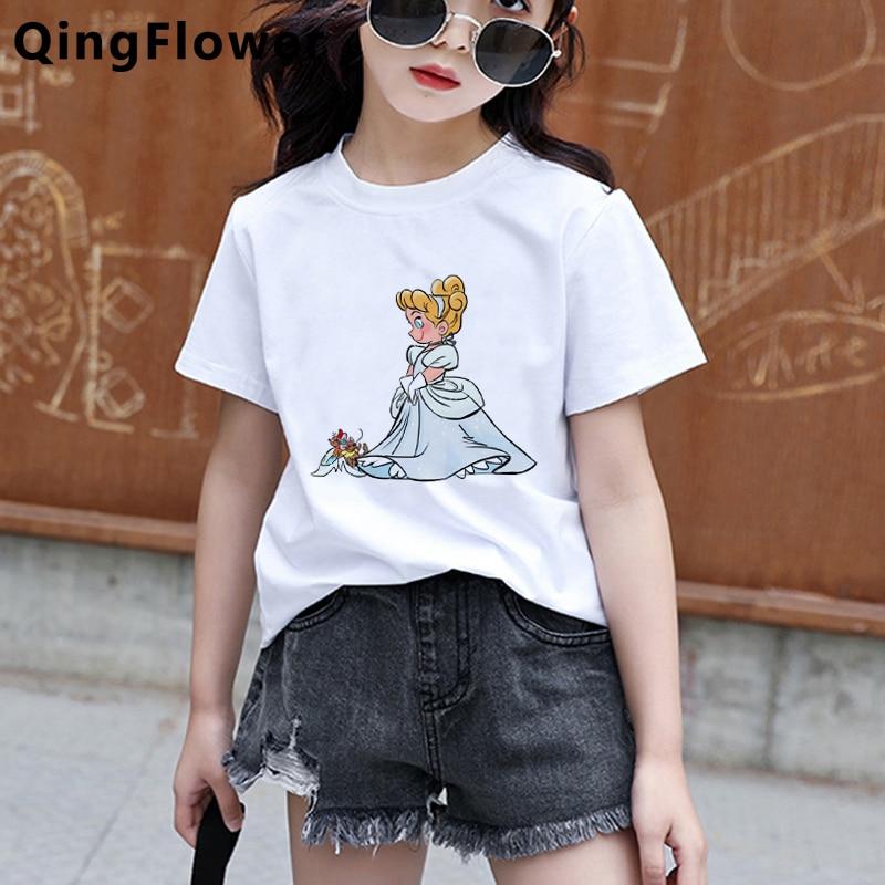 Bebé divertido lindo princesa moda Harajuku impresión T camisa Niño de dibujos animados playera Kawaii Casual de verano de camiseta O Top de cuello camisetas chica
