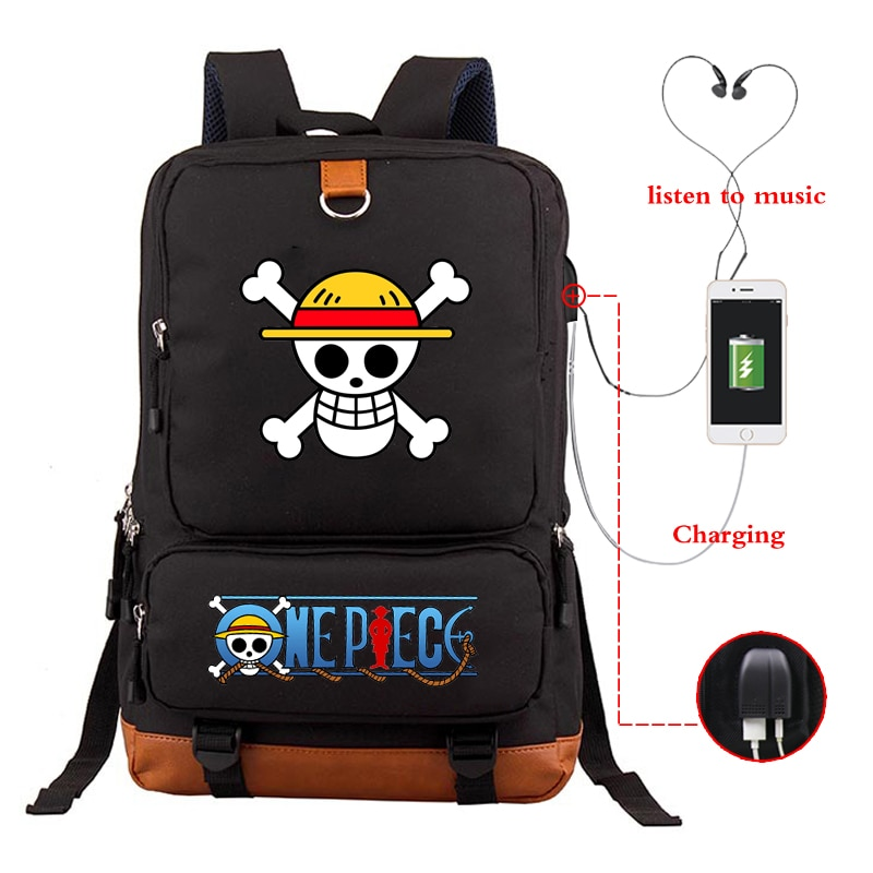 Anime travel backpack one piece teenagers Harajuku canvas school bag