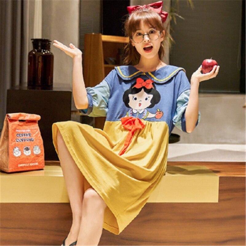 2020 nuevo vestido de Pijama para mujer chica de dibujos animados Kawaii decoración algodón Pijama tipo vestido contraste Color verano bonito vestido Oversize