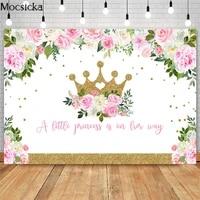 mocsicka pink floral golden crown baby shower backdrops litlle princess baby shower photography background decorations banner