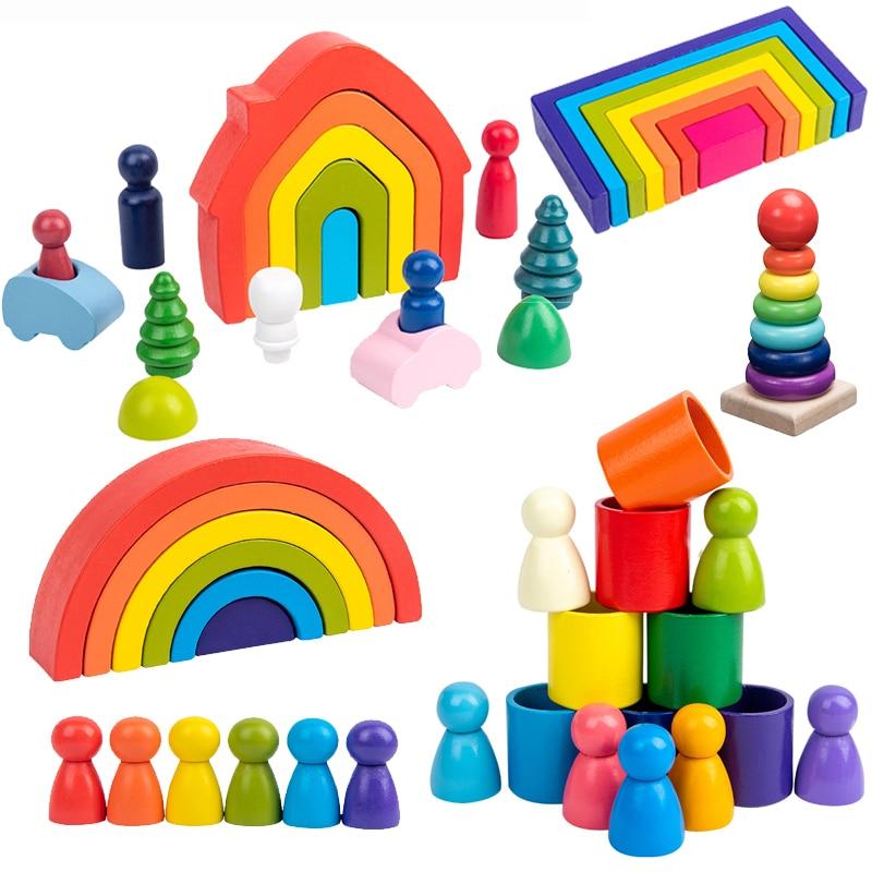Обучающие деревянные игрушки Монтессори, радужные деревянные полукруглые строительные блоки, прямоугольная доска, дом для детей, рождеств...
