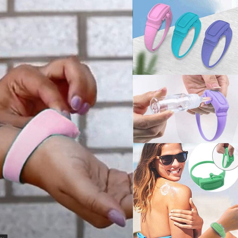 Bombas de pulseira portátil pulseira dispensador de mão com garrafa de bico recarregável que pode ser segurar gel de lavagem manual desinfetante de mão