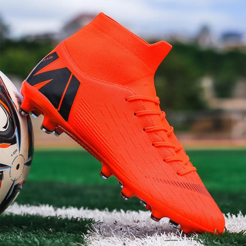 Новые Futstal FG/TF оранжевые футбольные бутсы для мужчин высокие мужские футбольные бутсы футбольные тренировочные мужские спортивные Бутсы ...