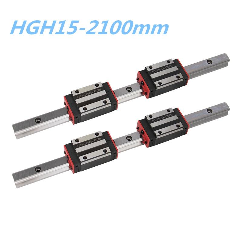 15mm trilho de guideway linear HGR15-2100mm 2 pces + 4 pces flange tipo bloco de rolamento de transporte hgw15cc ou slider hgh15ca para cnc