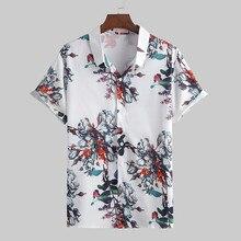 Fashion Summer Fashion Casual Lapel Print Short Sleeve Shirt Top Blouse Hawaiian shirt hip Hop Tops camisas blusa masculina
