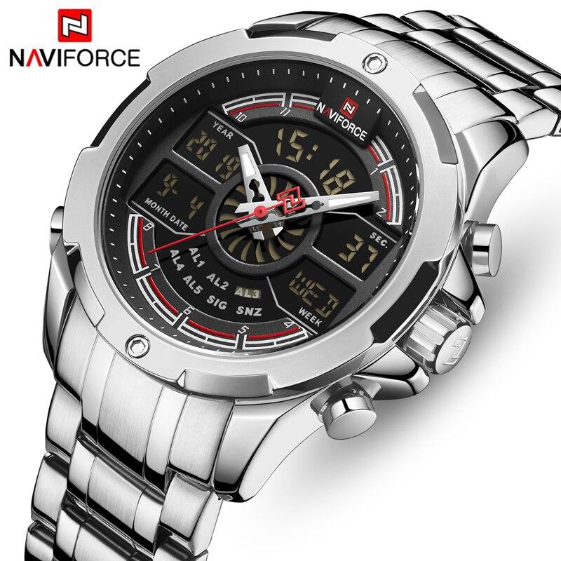 Relógios naviforce masculinos, relógios de marca de luxo de luxo esportivos relógios de quartzo para homens relógio de pulso à prova d água relogio masculino