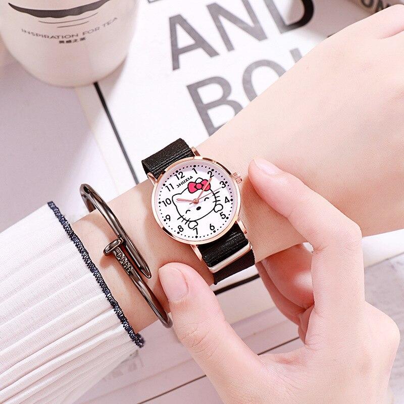 Relojes de dibujos animados hello Kitty para parejas amigas y hermanas de escuela secundaria