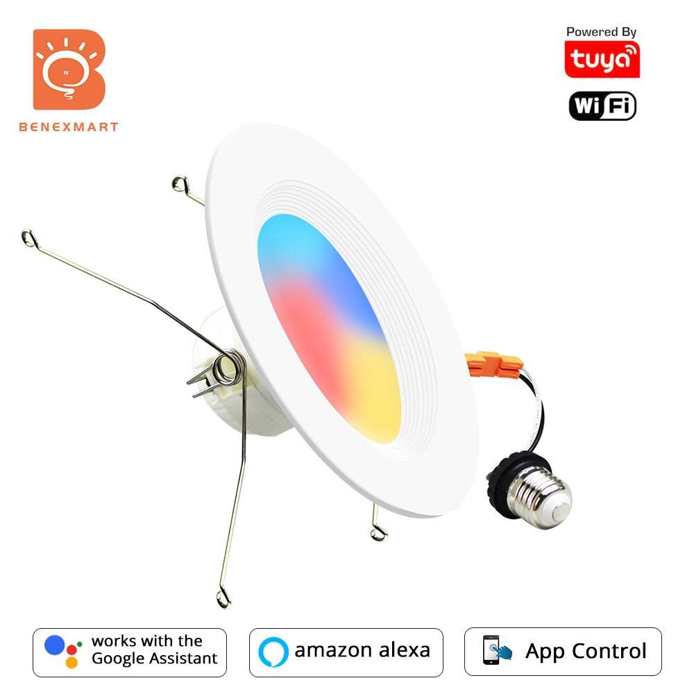 Benexmart Tuya الذكية واي فاي النازل RGBCW عكس الضوء 6 بوصة ضوء السقف راحة مع E27 قاعدة اليكسا جوجل المنزل ضوء العقوبات