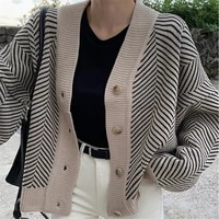 2021 long sleeve casual outwears v neck buttons coat knitted striped cardigan sweater women fashion patchwork top spring