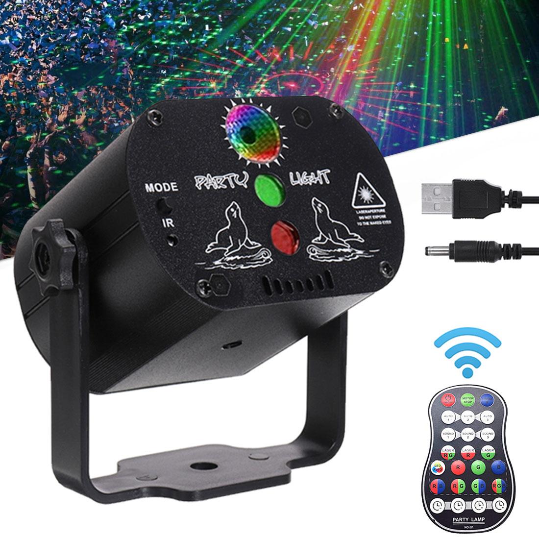 Mini luz LED RGB para discoteca, 60 patrones, recargable por USB, lámpara de proyección láser de 5V, iluminación para escenarios, espectáculos, bodas, fiestas, KTV DJ, pista de baile