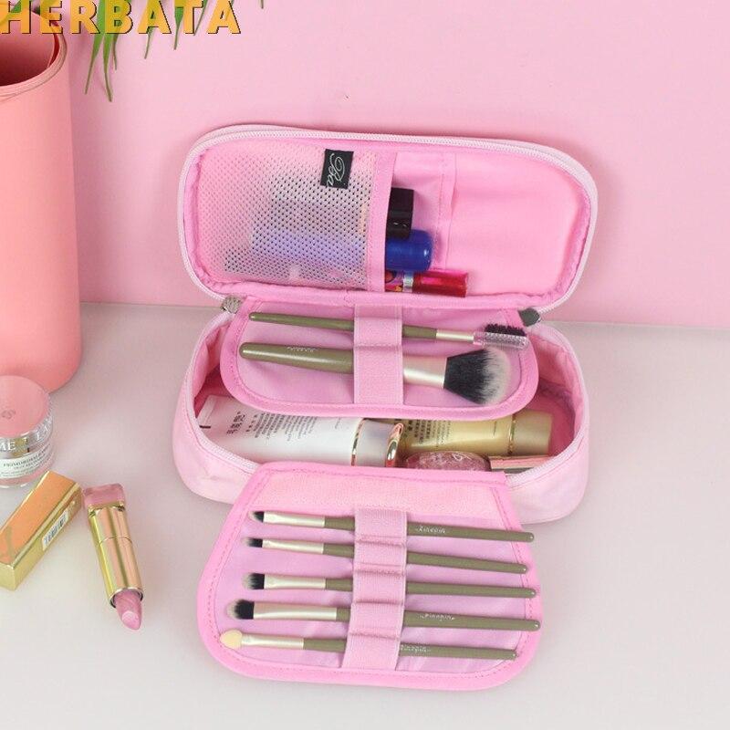Bolsa de lápices de gama alta multifunción portátil Impermeable bolsa de cosméticos, almacenamiento de viaje, soporte para cepillo de lavado, contenedor de almacenamiento para Cartuchera