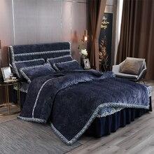 Housse de couette matelassée en velours 4/6 pièces   Bleu marine, housse de couette bleu marine, parure de lit de luxe chaud et violet pour lhiver