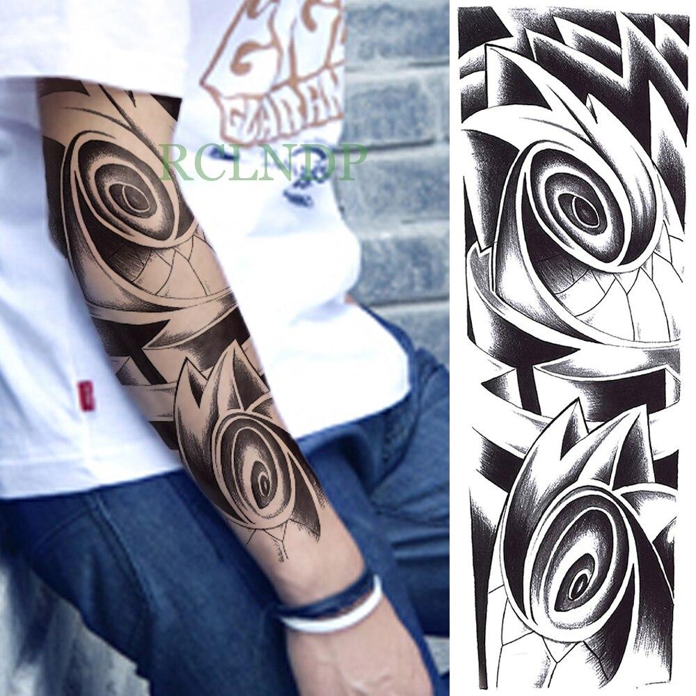 Tatuaje adhesivo temporal a prueba de agua, Ojo de tótem Tribal, brazo completo tatuaje falso, tatuaje instantáneo, manga de tatuaje, tamaño grande para hombres y mujeres