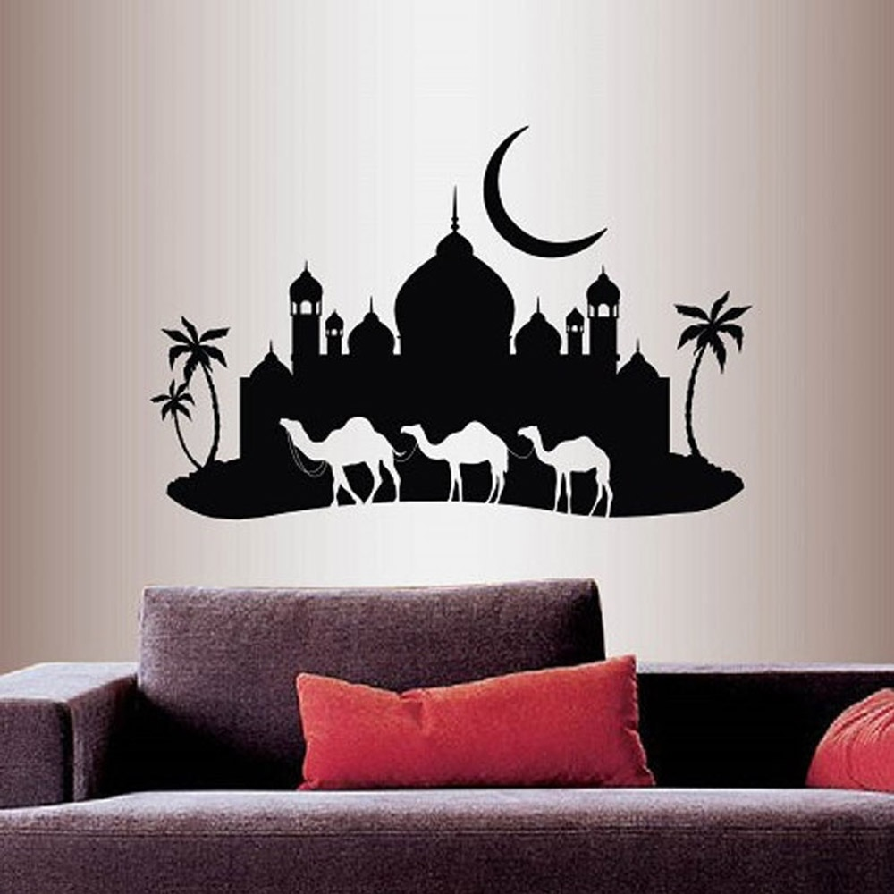 Wall Vinyl Decal Home Decor Sticker Arabian Night Camel Caravan Mosque Palace Skyline Moon Removable Stylish Mural Design C048