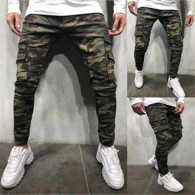 Джинсы-Джоггеры мужские камуфляжные, брюки-карго в стиле милитари, зауженные штаны со множеством карманов, однотонные джинсы-карандаш в сти...