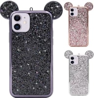 luxury 3d phone case for iphone 12 pro max case glitter sequins soft back cover for funda iphone 12 mini mouse ears cases coque