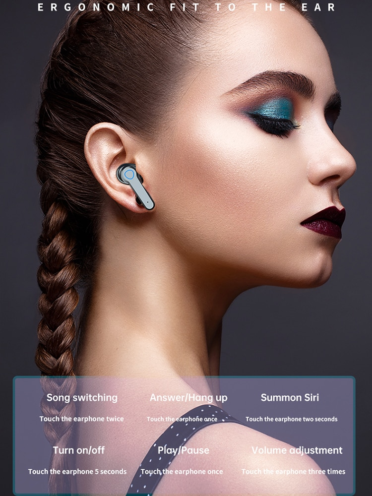 TWS Wireless Bluetooth 5.1 Headphones 9D Stereo Waterproof Earbuds Touch Control Earphones With Flashlight 2000 mAh Charging enlarge
