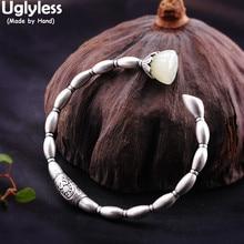 Bracelets de racines de Lotus vives faites à la main sans Uglyless pour les femmes bracelets de pierres précieuses de Jade Hetian naturel 925 bijoux en argent thaïlandais ethnique