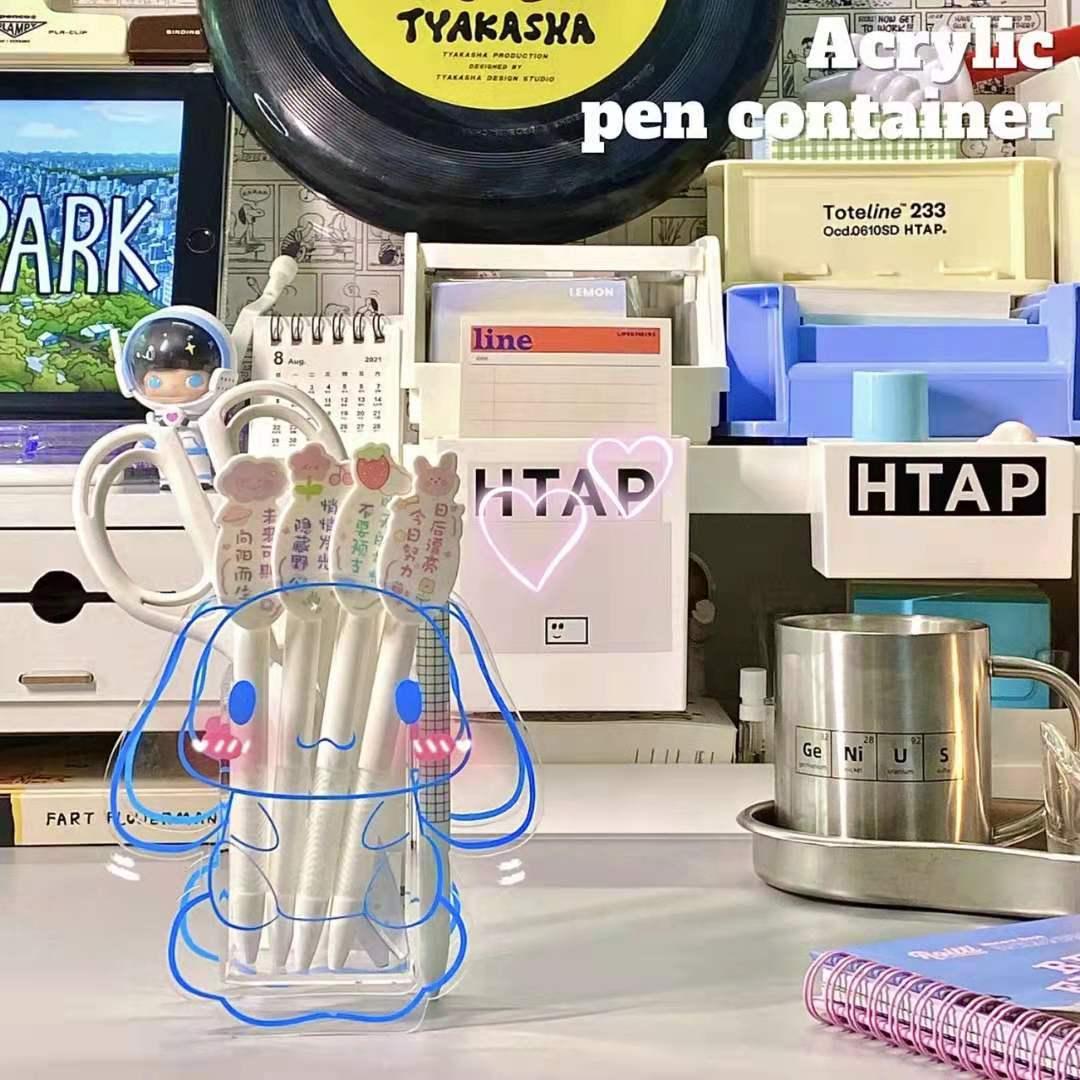 Акриловый прозрачный держатель для ручек, милый декоративный Настольный стеллаж для хранения, мультяшный прозрачный держатель для ручек