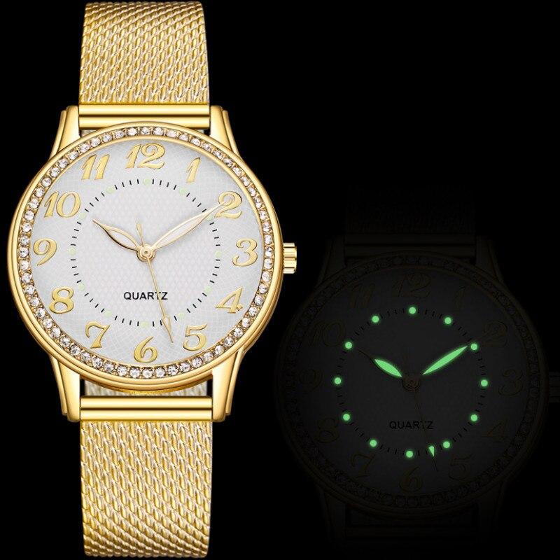 Фото - Оригинальные оригинальные светящиеся кварцевые часы с инкрустированными бриллиантами для женщин кольцо череп апачи с инкрустированными
