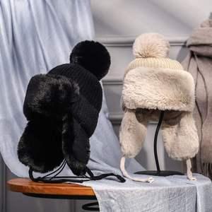 Autumn Winter Warm Fur Bomber Hats Women Knitting Caps With Cute Pom Ear Prorector Visor Caps For Girls