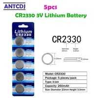 5pcs1card 260mah cr2330 lithium 3v button battery ecr2330 br2330 cell coin batteries for watch electronic toy remote