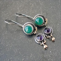 lovely small round green purple stone drop earrings for women boho tribal brincos black gold metal dainty earring jewelry 2021