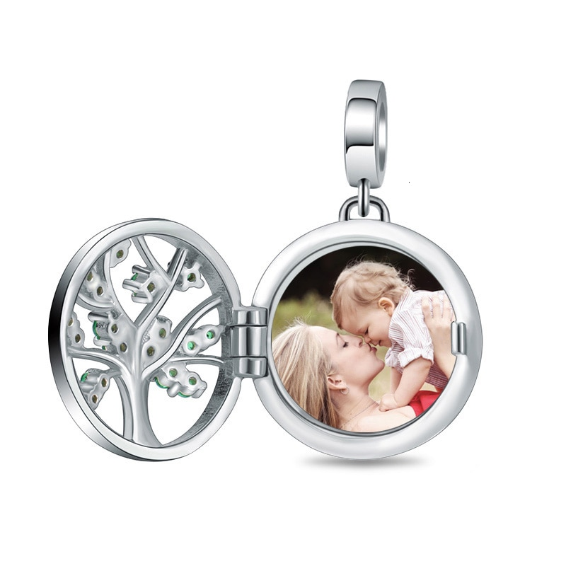 Xiaojing 925 Silver Engraved Unique Family Tree of Life Photo Locket Charms Fit Bracelet&necklace Custom Jewelry Free Shipping