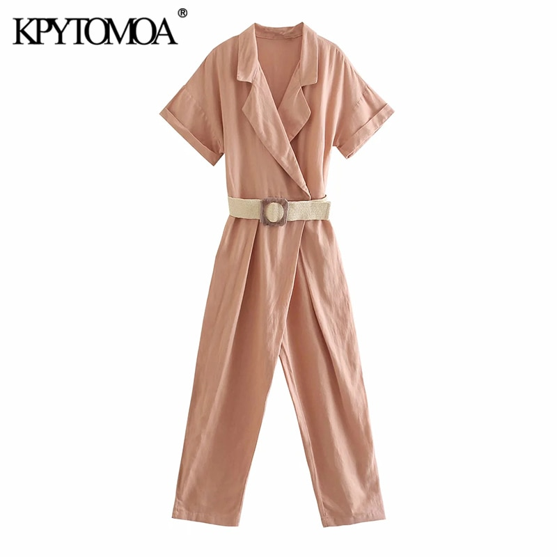 KPYTOMOA النساء 2021 شيك موضة مع حزام الكتان بذلة خمر جيوب جانبية قصيرة الأكمام الإناث playsuit Mujer