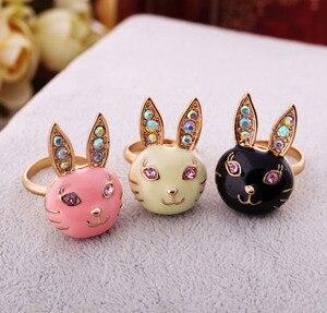 Большие ювелирные изделия balanкнопки оптом, эмалированные очаровательные золотистые кольца на палец с милым кроликом красочного цвета для женщин, подарки, модные украшения